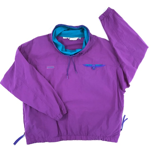 Columbia Jackets & Blazers - Vintage 1980s Columbia Windbreaker Purple Teal XL